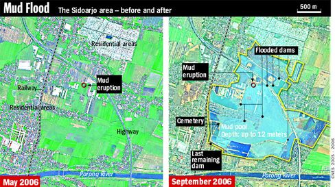 Graphic: Sidoarjo before and after the mud volcano in May 2006 and September 2006