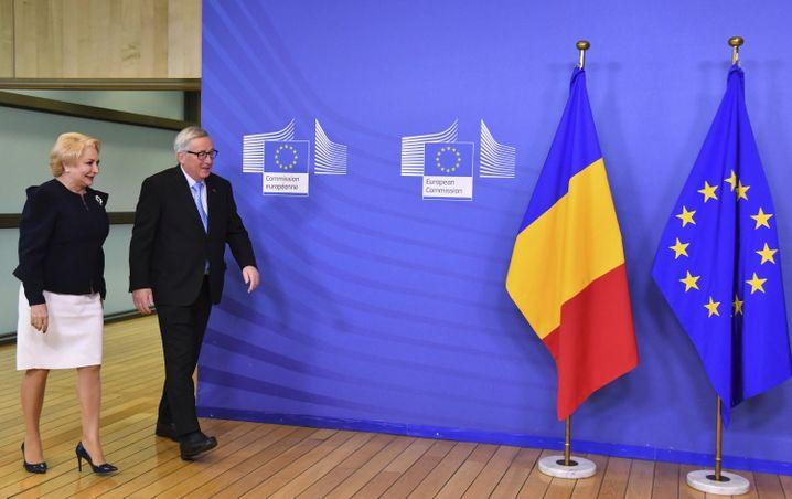 EU-Kommissionschef Jean-Claude Juncker und Rumäniens Ministerpräsidentin Viorica Dancila