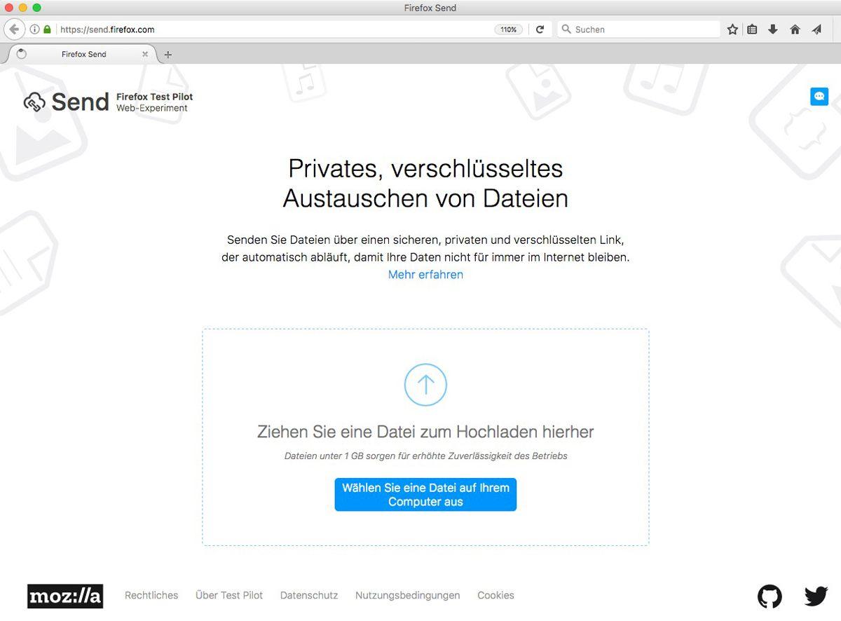 EINMALIGE VERWENDUNG Firefox Send SCREENSHOT