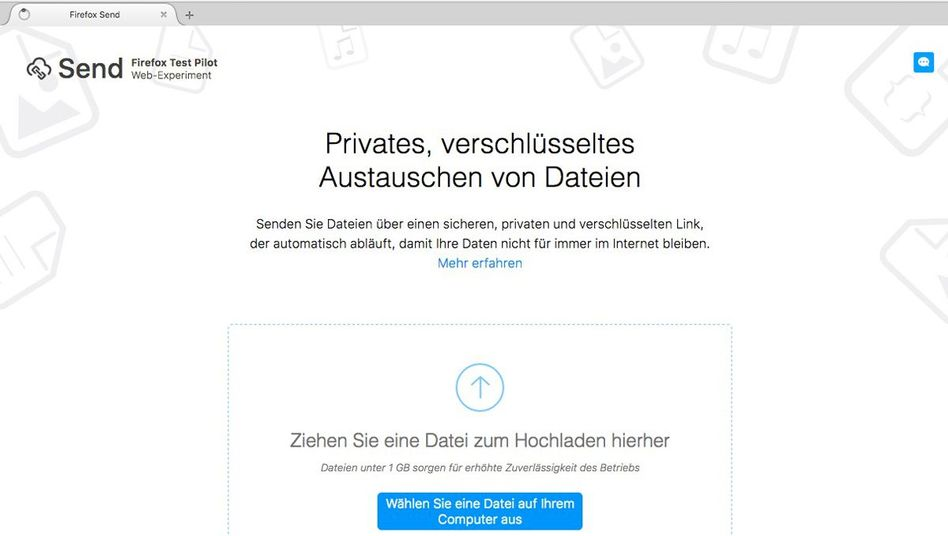 Screenshot der Upload-Seite