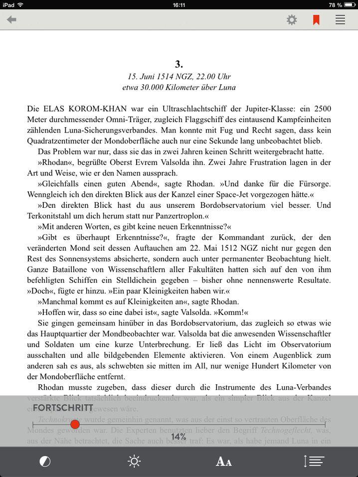 Seite eines Readfy-E-Books: Festlegen lassen sich die Schriftgröße und der Zeilenabstand