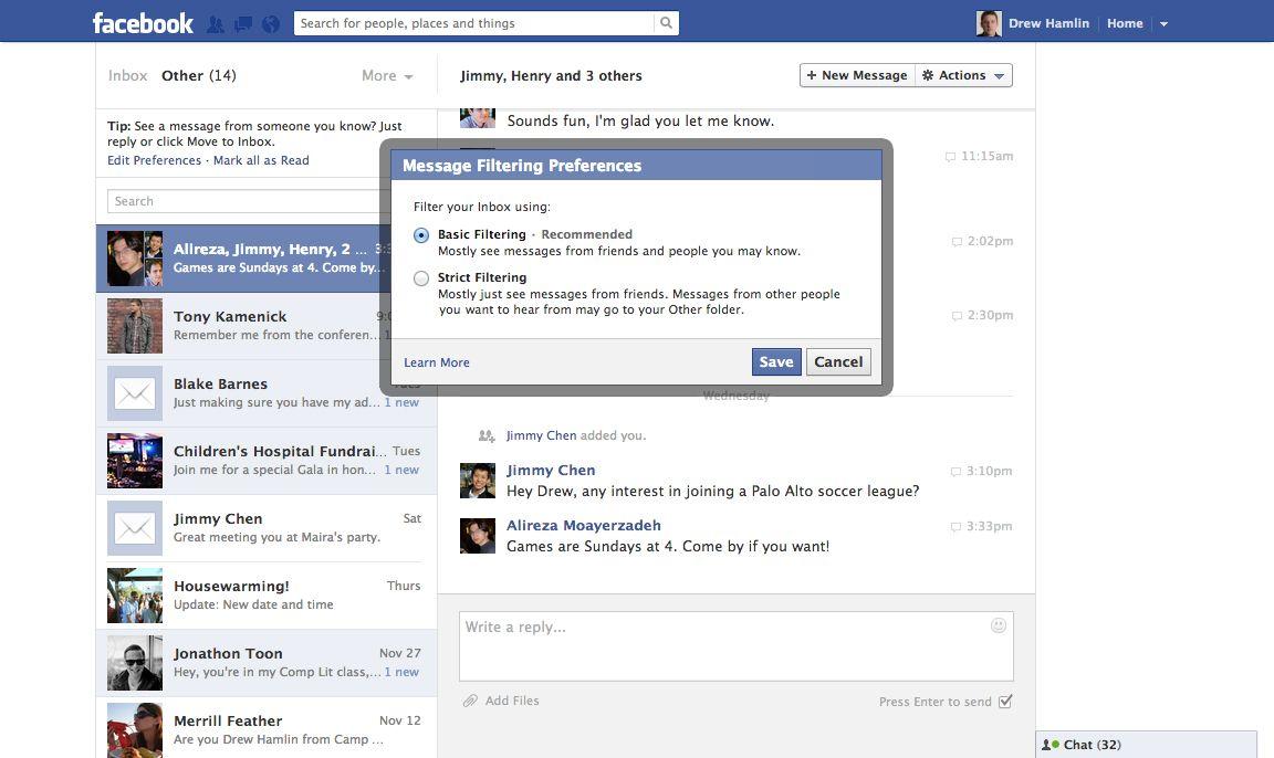 Screenshot Facebook Messages