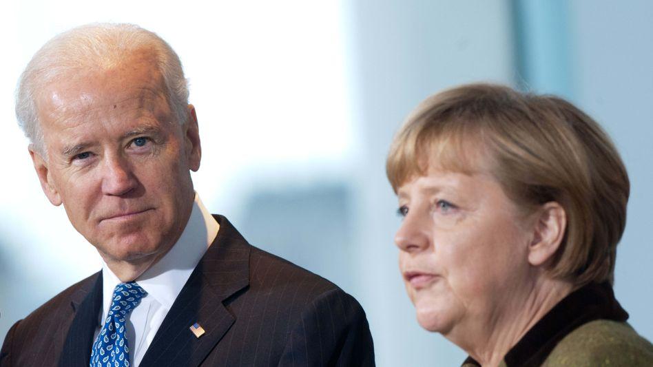 Joe Biden und Angela Merkel