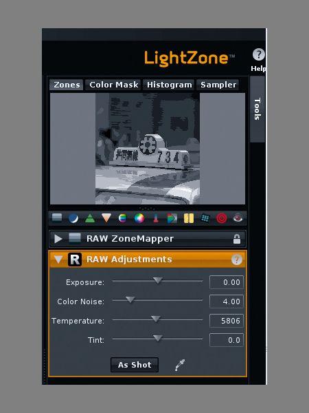 LightZone: Überschaubare Anzahl von Werkzeugen