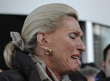 Tears -- Maria Elisabeth Schaeffler, owner of the Schaeffler group, crying during a demonstration by workers in front of the company's headquarters in Herzogenaurach, Germany last month.