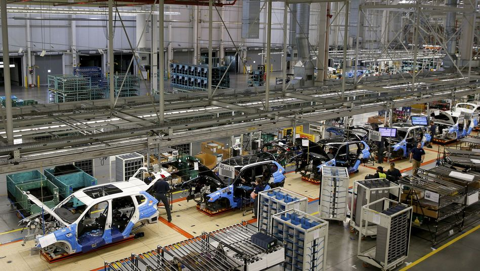 The assembly line at BMW's Spartanburg, South Carolina, factory