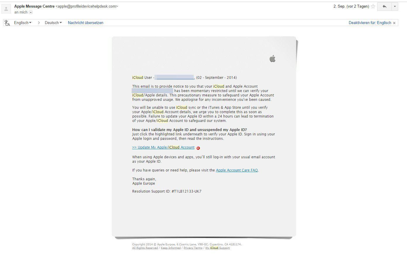 NUR ALS ZITAT Screenshot iclould-phishing