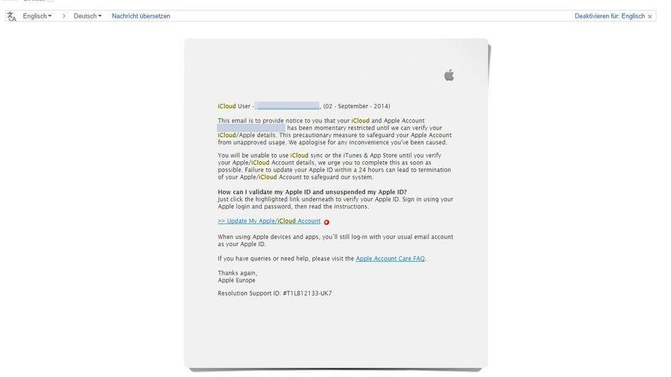 Gefälschte Apple-E-Mail an iCloud-User: Optisch erschreckend realistisch