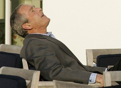 Bush relaxing on Thursday afternoon in Heiligendamm.
