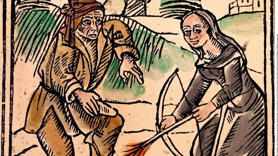 »Hexenschuss«: Plötzlicher Schmerz – war es ein Schadzauber? (Holzschnitt aus Reutlingen, 1484)