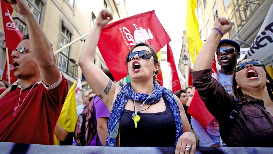 An April 1 demonstration in Lisbon against high unemployment and the government's austerity measures. Last week, Portugal became the third euro-zone member to ask for a bailout.