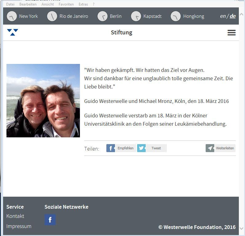 EINMALIGE VERWENDUNG Screenshot / Guido Westerwelle / Foundation