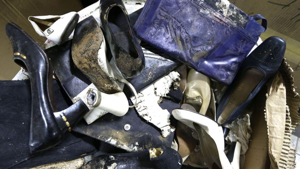 Beschädigte Schuhsammlung: Insektenfraß und Schimmelpilze