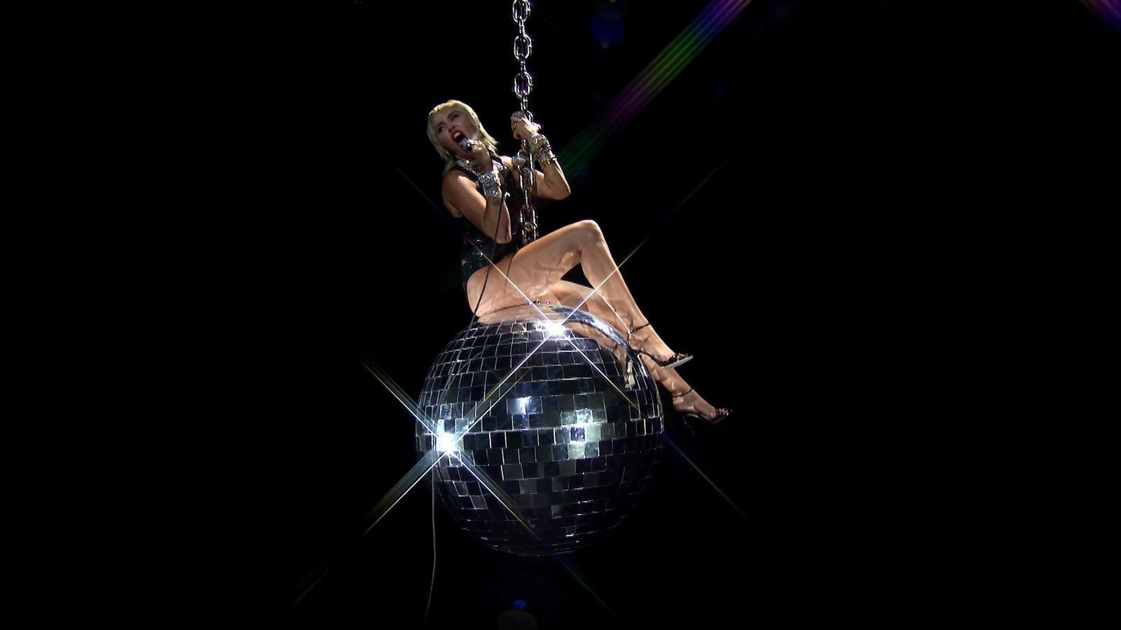 Miley Cyrus performs during the 2020 MTV VMAs