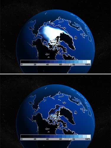 Weißer Fleck (Simulation): Im September des Jahres 2000 war das Meereis in der Arktis schon arg geschrumpft - bis 2040 könnte es verschwunden sein