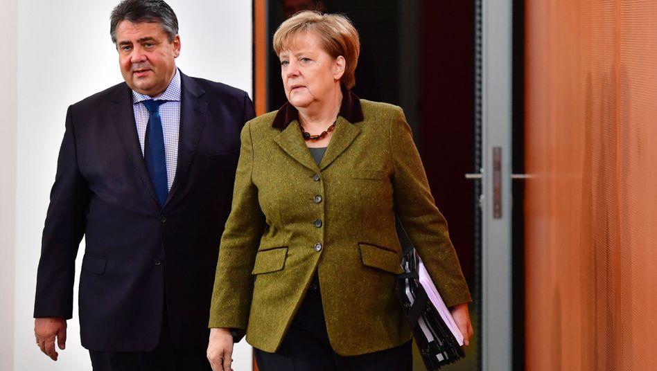 Wirtschaftsminister Gabriel, Kanzlerin Merkel