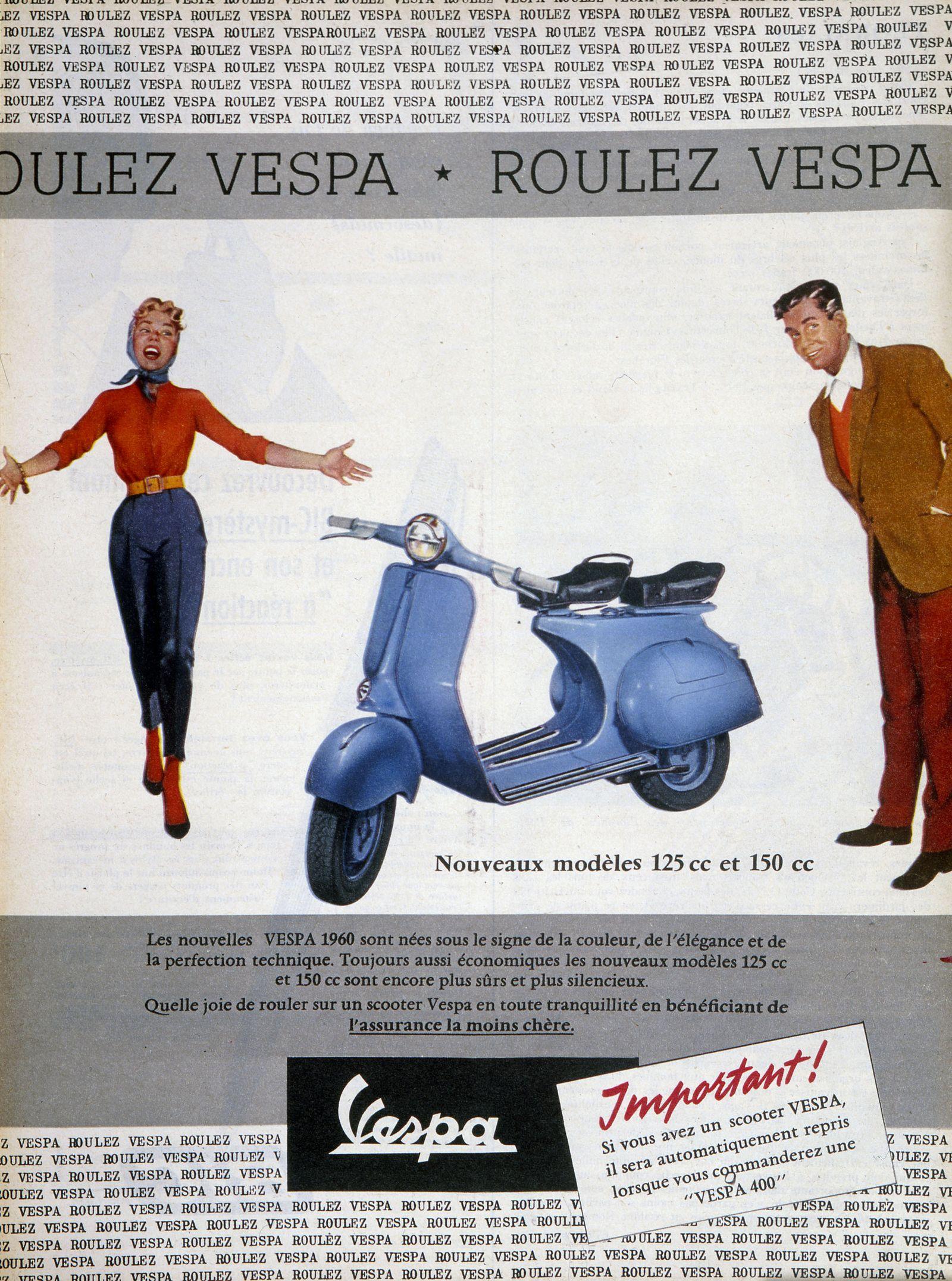 Vespa Publicite pour les scooters de la marque Vespa publiee dans Match du 2 mai 1959. Credit : Collection KHARBINE-TAPA
