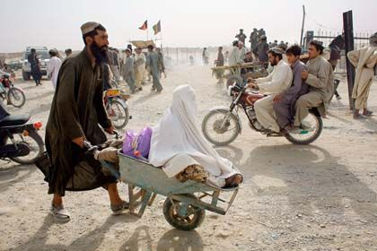 Porous frontier: Security on the border crossing between Spin Boldak, Afghanistan and Chaman, Pakistan is weak and thousands make the crossing every year, including the Taliban.