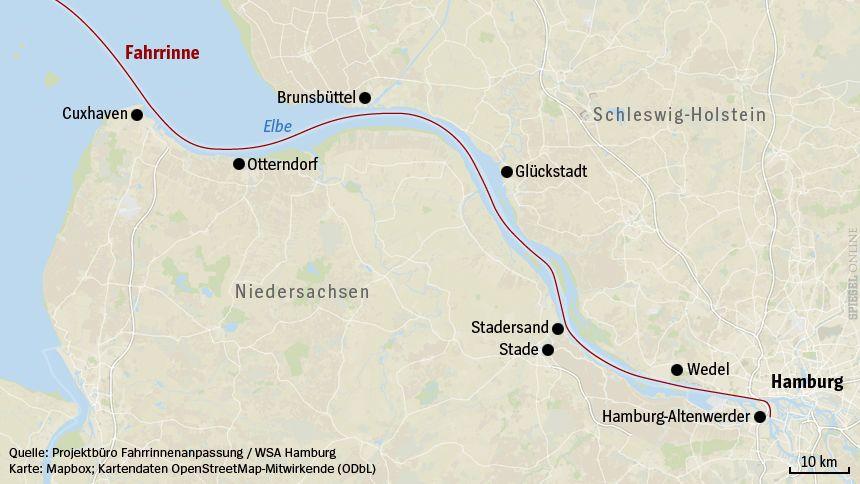 Elbvertiefung - Karte Fahrrinne