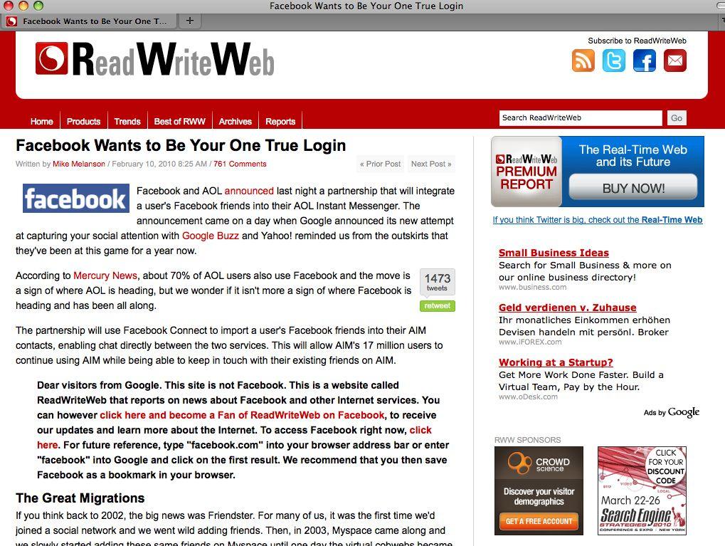 EINMALIGE VERWENDUNG Read Write Web / Facebook