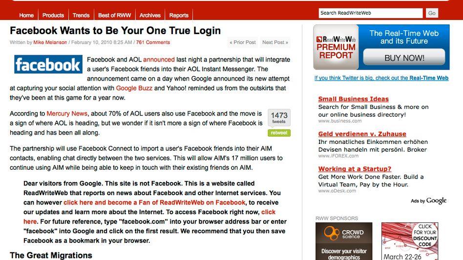 """Screenshot """"ReadWriteWeb"""": """"Liebe Besucher von Google. Das hier ist nicht Facebook."""""""