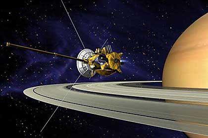 """""""Cassini""""-Mission (Grafik): Vier Jahre lang erforscht die Raumsonde den Saturn und seine 33 Monde"""