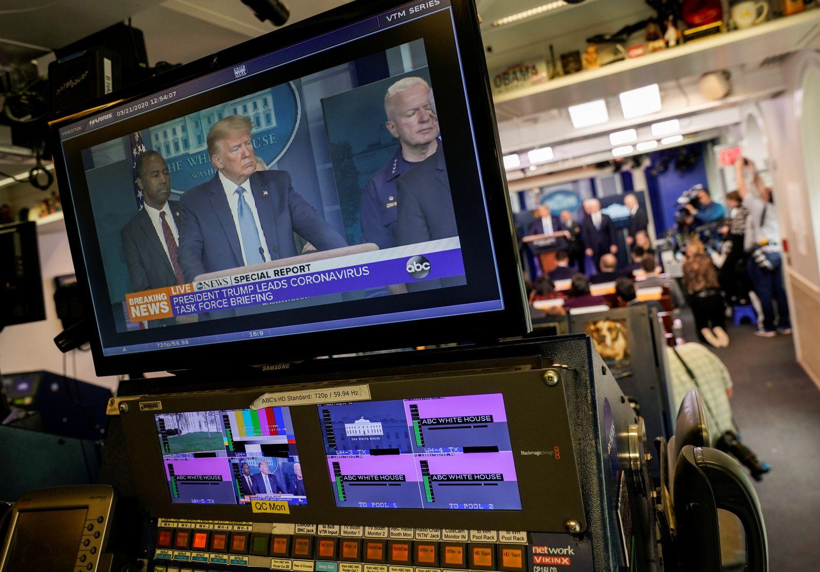 U.S. President Trump speaks during a news briefing on coronavirus in Washington.