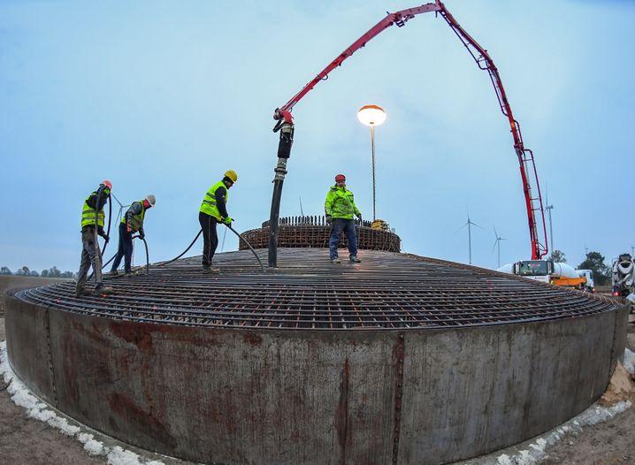 Fundament einer Windenergieanlage in Brandenburg