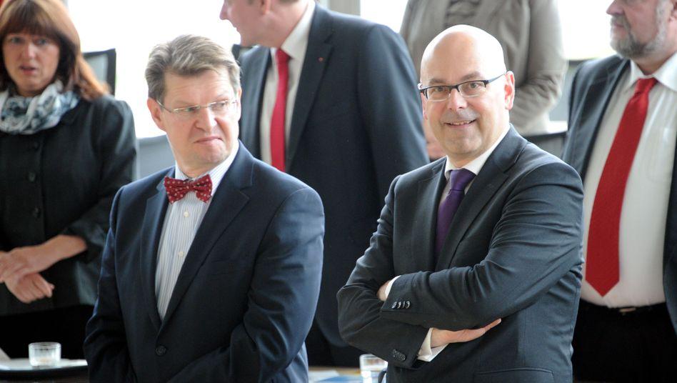 Vorsitzender Stegner und Ministerpräsident Albig: Rivalen aus unterschiedlichen SPD-Flügeln