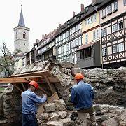 Grabungsstätte: An der Krämerbrücke in der Erfurter Altstadt wurden die Reste des Bades gefunden