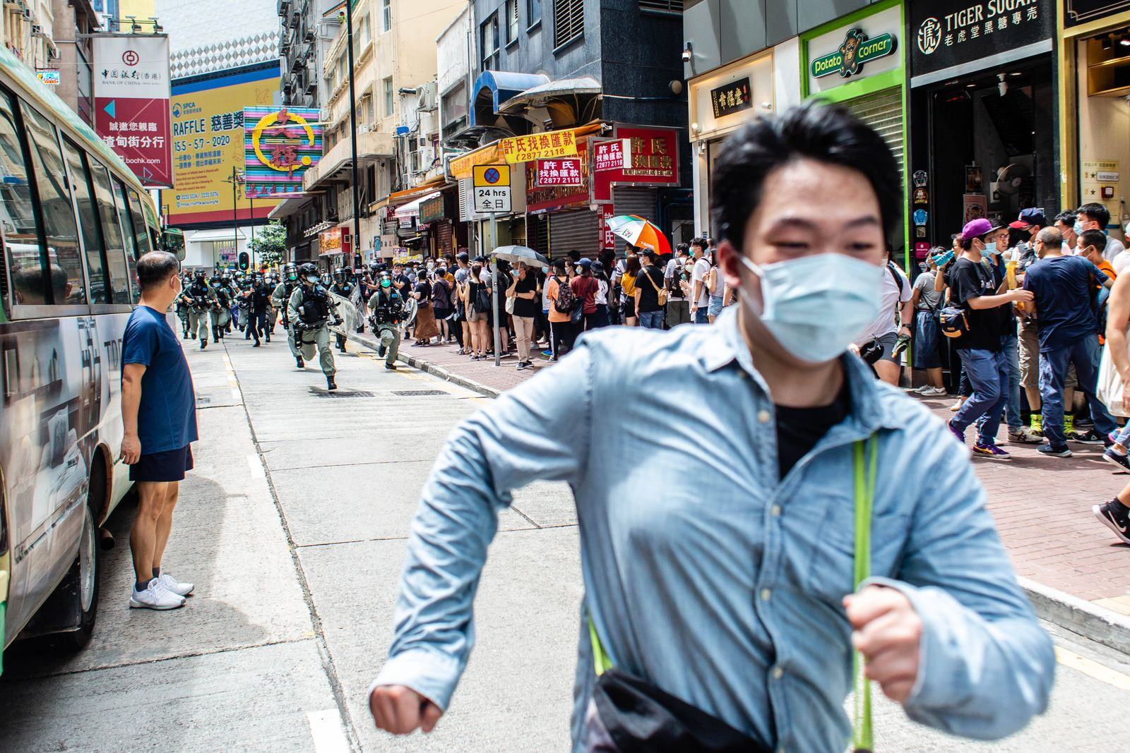 July 1, 2020, Hong Kong, China: Riot police in pursuit of protesters during the demonstration..Following the passing of