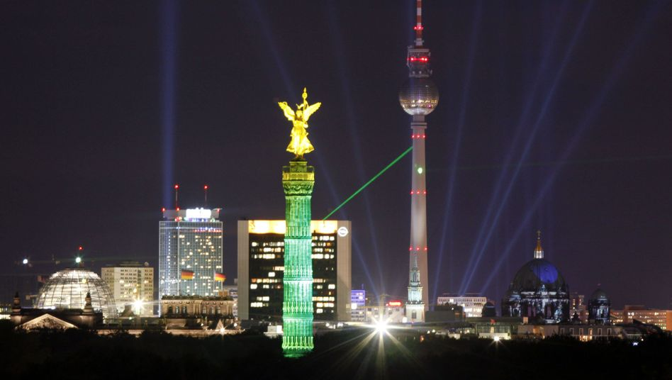 """The illuminated Berlin skyline: """"Berlin is perceived as a cool city for tech people."""""""