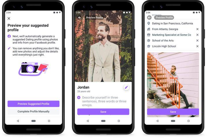 Screenshots des Dienstes Facebook Dating: Aufbau echter, langfristiger Beziehungen
