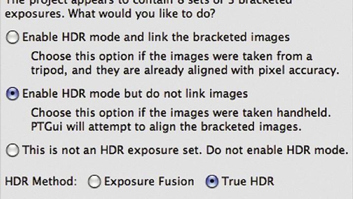 In einem Durchgang: HRD-Bilder und Panorama-Stitching