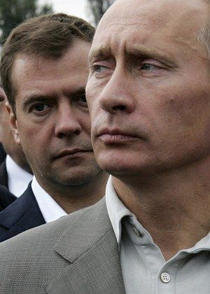 Russian President Vladimir Putin (r) with First Deputy Prime Minister Dmitry Medvedev, who he has announced as his favored successor.