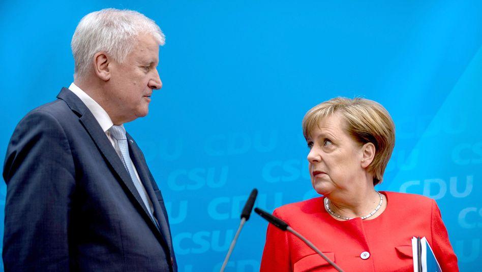 Parteichefs Seehofer, Merkel