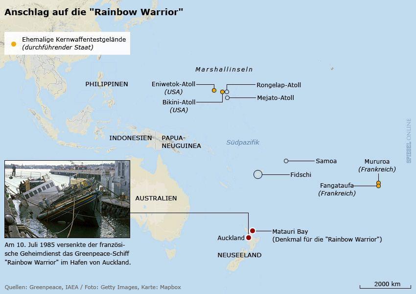 Karte - Rainbow Warrior - Ort der Versenkung