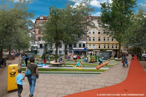 Breiter Radweg und Spielplatz mit Sitzgelegenheiten statt grauem Parkplatz: So soll »Superbüttel« aussehen