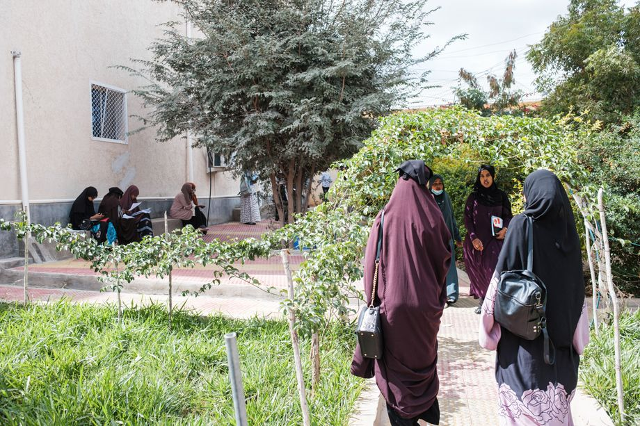 Students on the Edna Adan University campus in Hargeisa