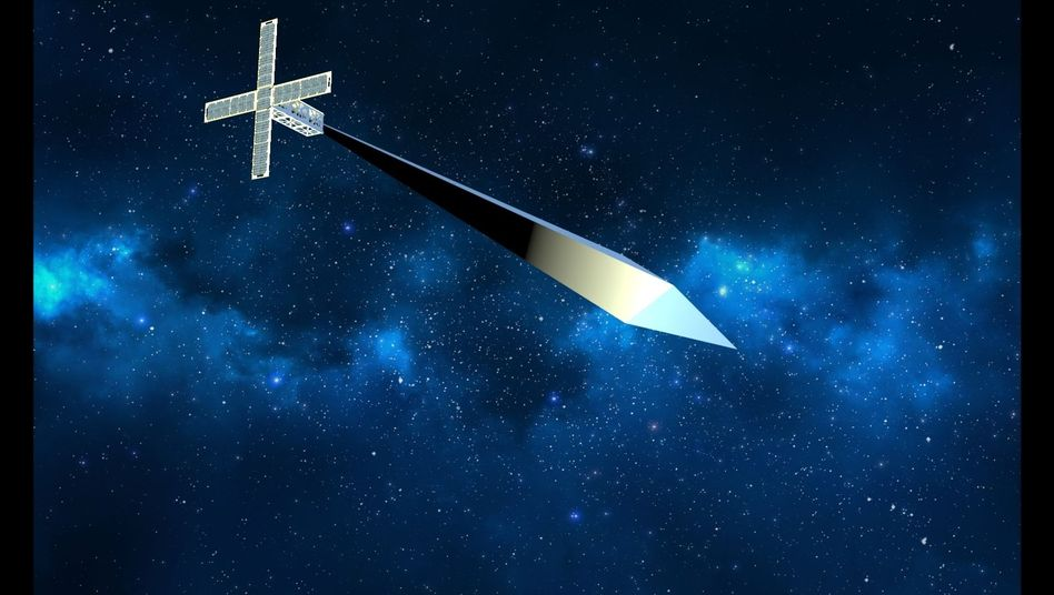 """Kunst-Satellit """"Orbital Reflector"""" (grafische Darstellung)"""