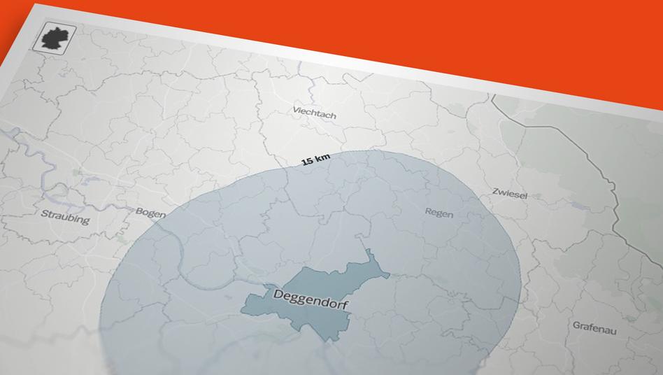 Karten-Visualisierung des 15 km Radius um einen Wohnort