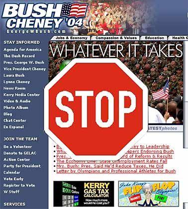 Aktuelle Bush-Kampagnenwebseite: Für alle Nicht-Amerikaner verboten