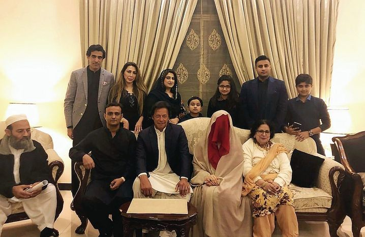 "Imran Khan and Bushra Bibi (with the red veil) at their wedding in 2018: ""My soulmate."""