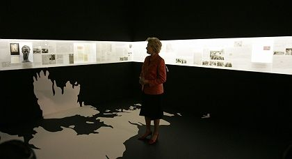 Erika Steinbach, head of the Federation of German Expellees, looks at the new exhibition in Berlin.