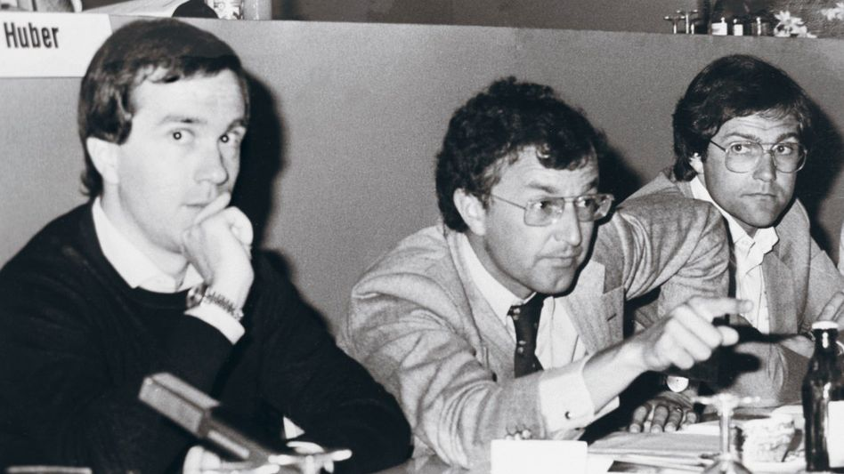 Andenpakt-Mitglieder Wissmann, Huck, Jung auf dem Deutschlandtag der Jungen Union 1980