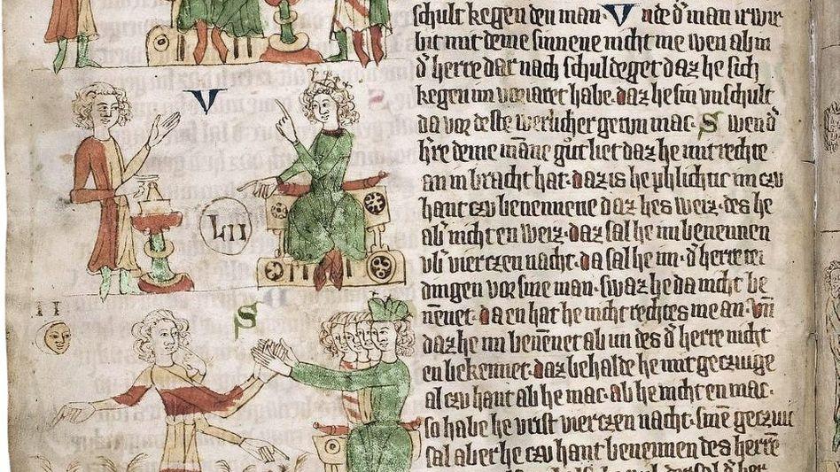 Heidelberger Handschrift des »Sachsenspiegels« mit Symbolbildern 14. Jahrhundert