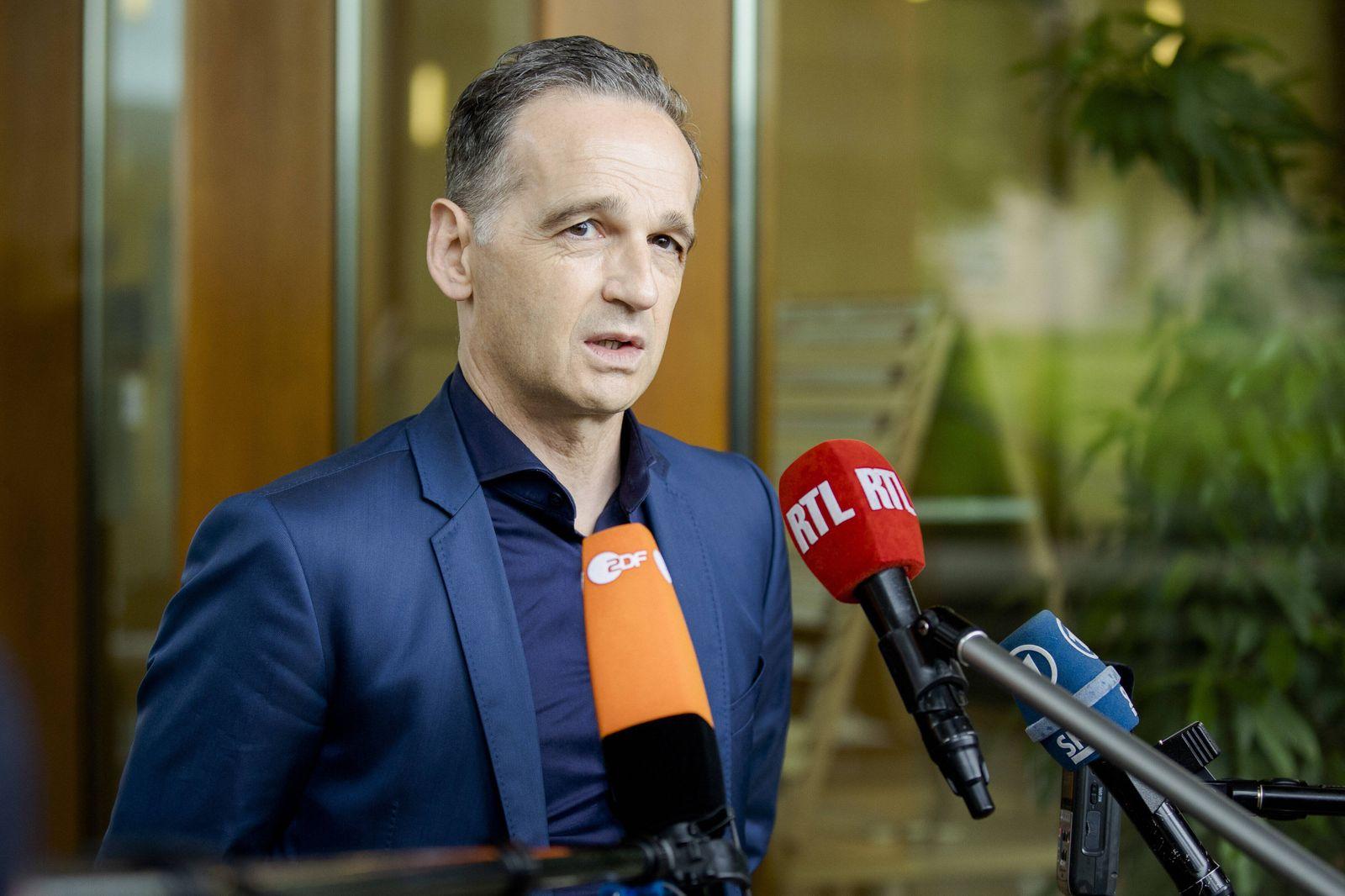 Heiko Maas, Bundesaussenminister, aufgenommen bei einem Pressestatement nach dem gemeinsamen Gespraech mit Jean-Yves Le