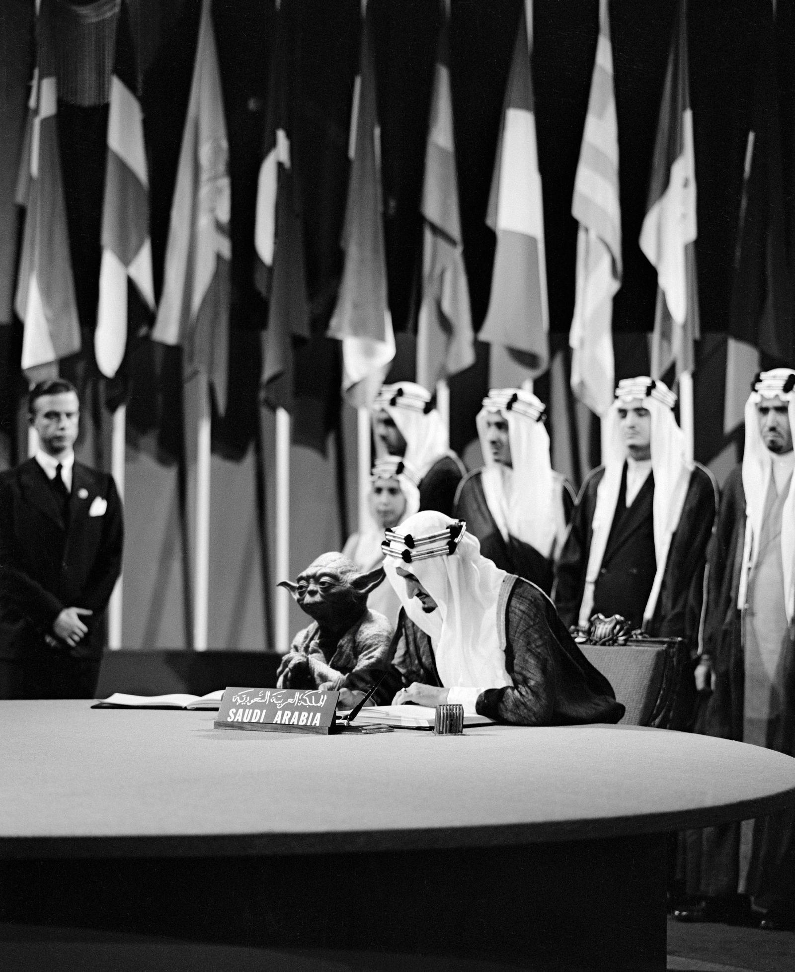 EINMALIGE VERWENDUNG Saudi-Arabien/ Fotomontage/ Yoda/ König
