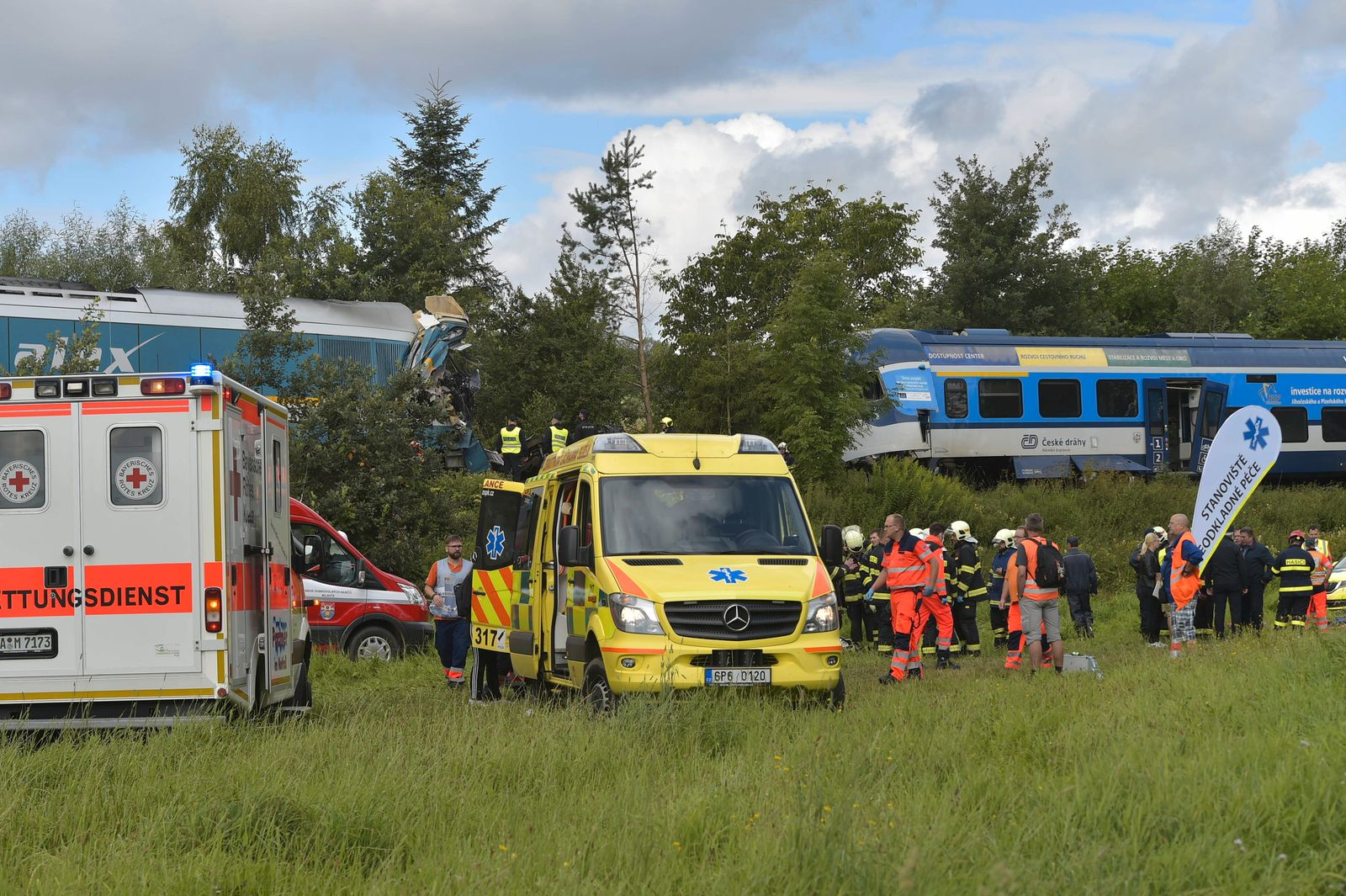 Two people died and seven are in the critical state after the collision of two trains near the village of Milavce betwe