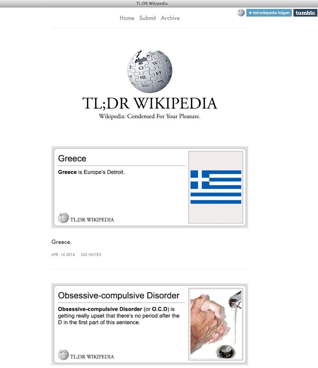 NUR ALS ZITAT Screenshot/ TL DR Wikipedia